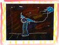 Seven Dreams: Dream 5, Solo Kite Flyer Monoprint  1997 26x24 Works on Paper (not prints) by Peter Max - 1