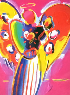 Angel With Heart 10x8 Works on Paper (not prints) by Peter Max