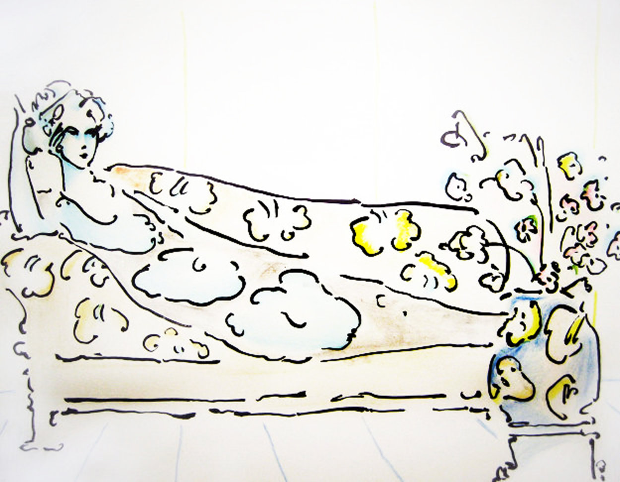 Lady on the Couch 1974 (Vintage) Limited Edition Print by Peter Max