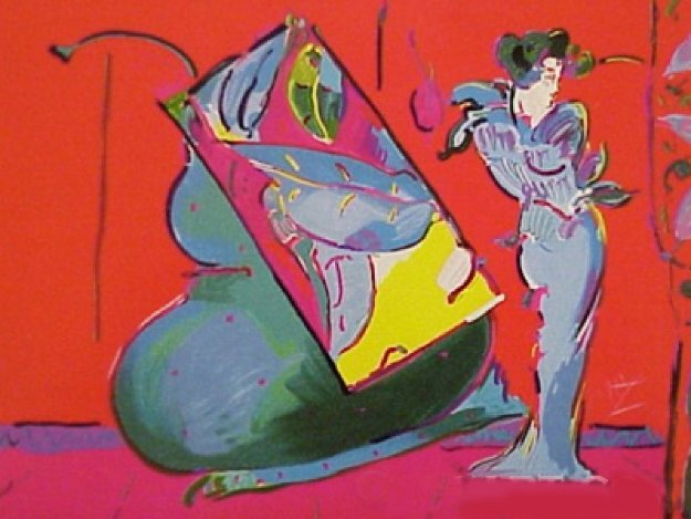 Lady on Red (With Floating Vase) 1998 Limited Edition Print by Peter Max