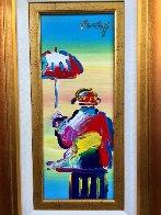Umbrella Man 2008 25x16 Original Painting by Peter Max - 2