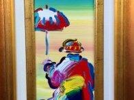 Umbrella Man 2008 25x16 Original Painting by Peter Max - 3