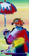 Umbrella Man 2008 25x16 Original Painting by Peter Max - 0