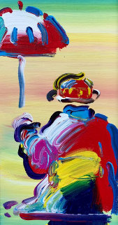 Umbrella Man 2008 25x16 Original Painting - Peter Max