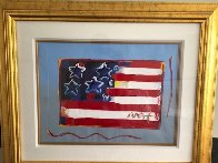 Flag With Heart Unique 1999 18x24 Works on Paper (not prints) by Peter Max - 3