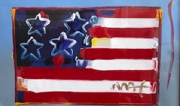 Flag With Heart Unique 1999 18x24 Works on Paper (not prints) by Peter Max