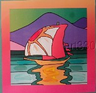 Sailboat East Unique 2006 30x26 Works on Paper (not prints) by Peter Max - 6