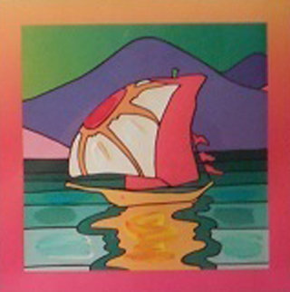 Sailboat East Unique 2006 30x26 Original Painting - Peter Max
