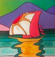 Sailboat East Unique 2006 30x26 Works on Paper (not prints) by Peter Max - 0