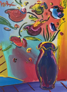Vase of Flowers 33x38 Works on Paper (not prints) - Peter Max