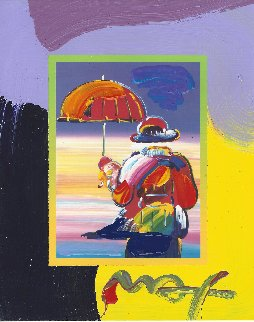 Umbrella Man on Blends Unique 2007 21x19 Works on Paper (not prints) - Peter Max