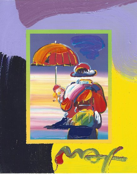 Umbrella Man on Blends Unique 2007 21x19 Works on Paper (not prints) by Peter Max
