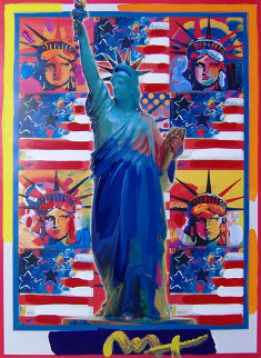 God Bless America with Five Liberties Unique 2001 Works on Paper (not prints) by Peter Max