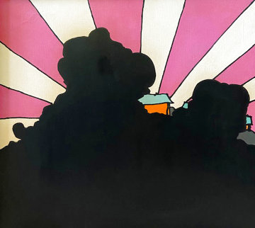 Shadowed Sunrise (Vintage - Early) 1971 27x27 Original Painting - Peter Max