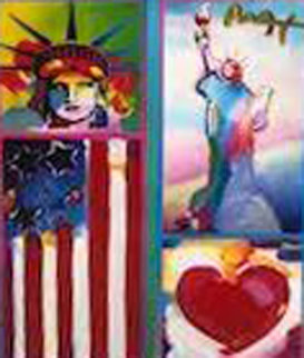 Patriotic Series: Two Liberties, Flag  And Heart  2006 19x15  Works on Paper (not prints) by Peter Max