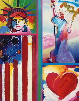 Patriotic Series Two Liberties, Flag And Heart 2006 19x15 Works on Paper (not prints) - Peter Max