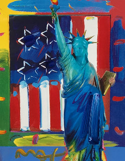 Patriotic Series Liberty And Flag Unique 2006 19x15 Works on Paper (not prints) - Peter Max
