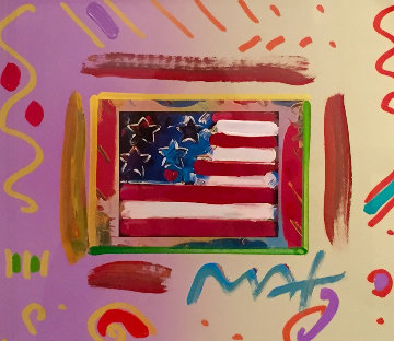 Flag with Heart 2000  Unique Works on Paper (not prints) by Peter Max