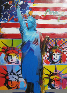 Patriotic Series: Full Liberty With 4 Liberty Heads Unique 32x28 Works on Paper (not prints) - Peter Max