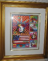 Patriotic Series: Five Liberties And Flag Unique 2006 32x28 Works on Paper (not prints) by Peter Max - 1