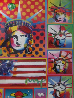 Patriotic Series: Five Liberties And Flag Unique 2006 32x28 Works on Paper (not prints) by Peter Max