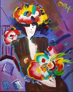 Lady With Flowers 2000 63x51 Original Painting - Peter Max