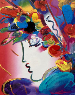 Blushing Beauty on Blends Unique 2006 23x21 Works on Paper (not prints) by Peter Max