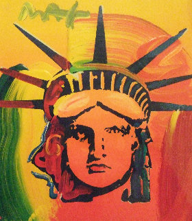 Liberty Head Unique 1999 20x19 Works on Paper (not prints) by Peter Max