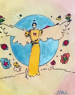Untitled Watercolor 1980 27x23 Watercolor - Peter Max