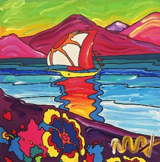 Sunset Sail Unique 1989 11x11 Works on Paper (not prints) - Peter Max
