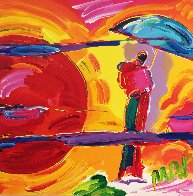 New Moon Unique 1989 11x11 Works on Paper (not prints) by Peter Max - 0