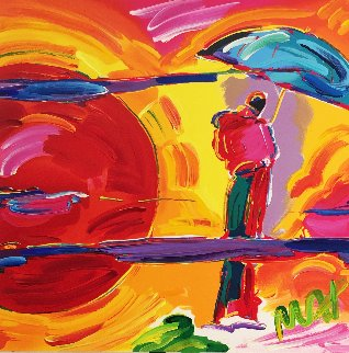 New Moon Unique 1989 11x11 Works on Paper (not prints) by Peter Max