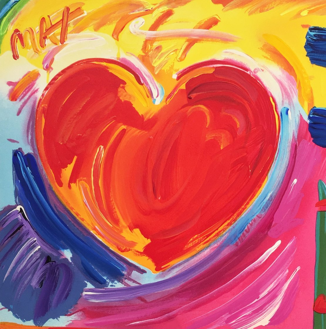 Love Heart Unique 1989 11x11 Works on Paper (not prints) by Peter Max