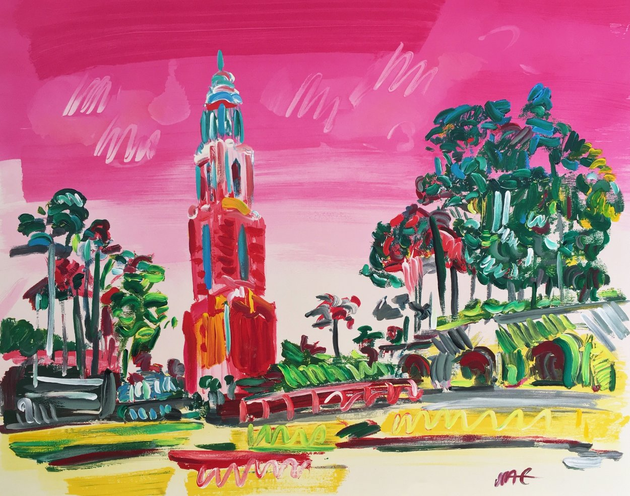 Balboa Park Unique  Works on Paper (not prints) by Peter Max