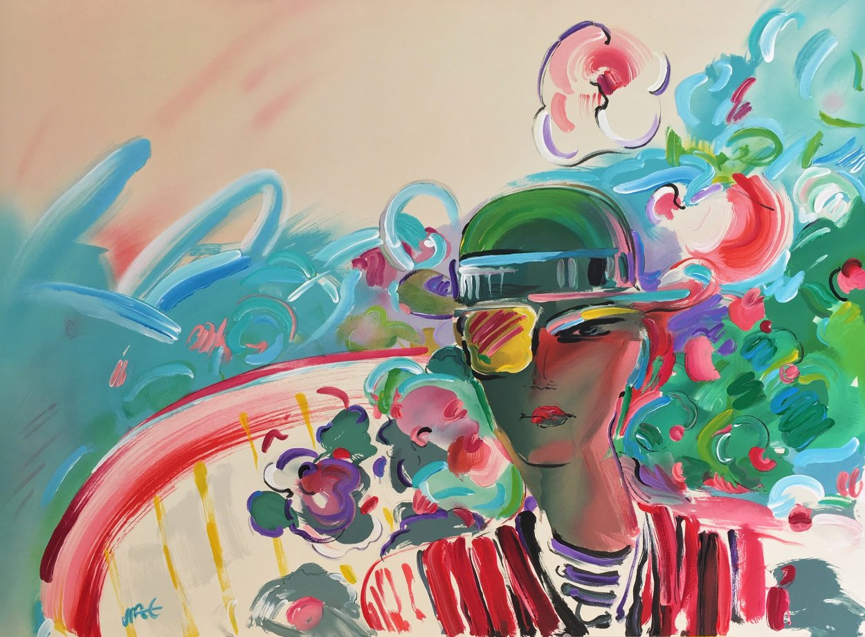 French Zero's Girlfriend Unique 1990 27x36 Works on Paper (not prints) by Peter Max