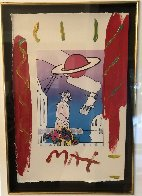Electric Future Man with Flowers and Planet Unique 1994 19x15 Works on Paper (not prints) by Peter Max - 2