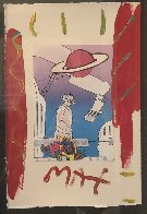 Electric Future Man with Flowers and Planet Unique 1994 19x15 Works on Paper (not prints) by Peter Max - 3
