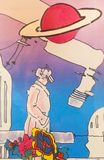 Electric Future Man with Flowers and Planet Unique 1994 19x15 Works on Paper (not prints) by Peter Max
