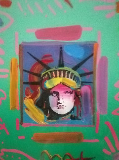 Liberty Head II Collage 1997 Unique 23x21 Works on Paper (not prints) by Peter Max
