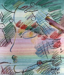 Untitled Mixed Media Drawing 1990 16x19 Works on Paper (not prints) by Peter Max
