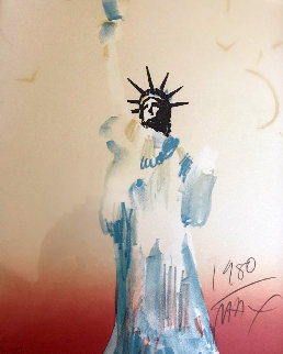Statue of Liberty (Light Orange / Yellow) 1980 Limited Edition Print - Peter Max