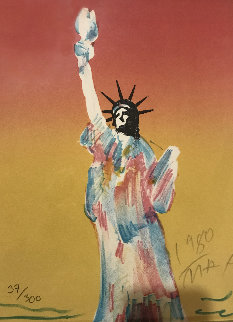 Statue of Liberty (Dark Orange And Dark Yellow) 1980 Limited Edition Print - Peter Max