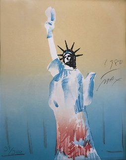 Statue of Liberty (Yellow And Light Blue)  1980 Limited Edition Print - Peter Max