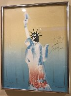 Statue of Liberty (Yellow And Light Blue)  1980 Limited Edition Print by Peter Max - 1