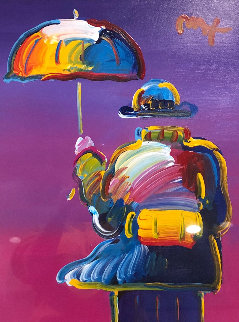 Umbrella Man on Purple  32x28 Works on Paper (not prints) - Peter Max