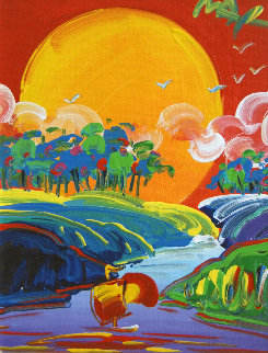 Without Borders Version XII #1 2002 17x15 Original Painting by Peter Max