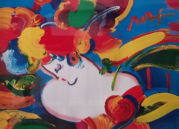 Flower Blossom Lady Unique 1999 29x35 Works on Paper (not prints) by Peter Max