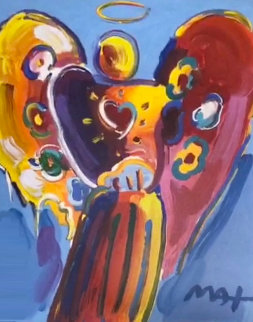 Angel With Heart II Unique  Works on Paper (not prints) - Peter Max