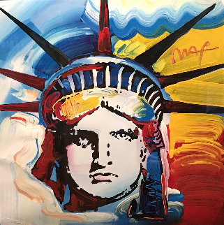 Liberty Head Unique 2000 II 35x35 Works on Paper (not prints) by Peter Max