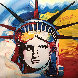 Liberty Head Unique 2000 II 35x35 Works on Paper (not prints) by Peter Max - 0
